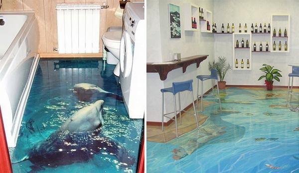 Biến phòng tắm thành đại dương với tranh nghệ thuật 3D đầy ấn tượng
